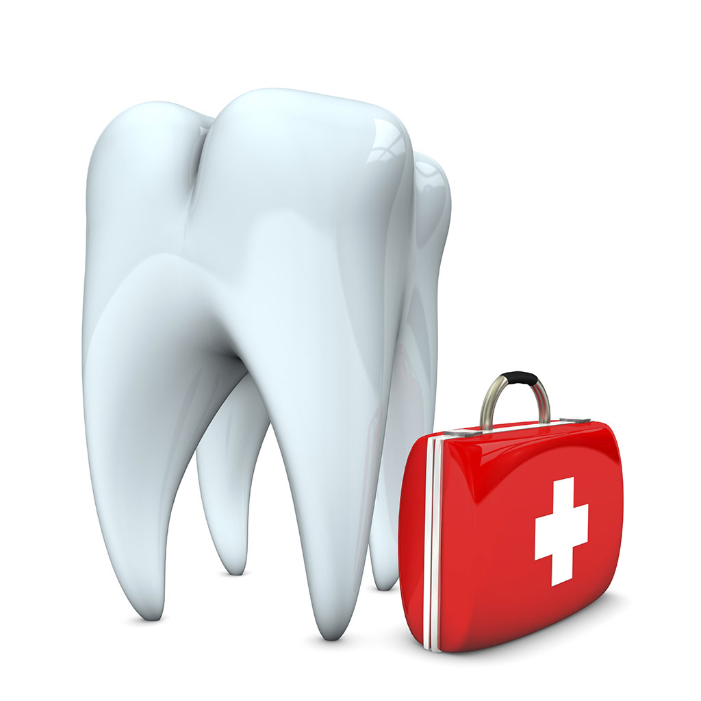White tooth with emergency case. White background.